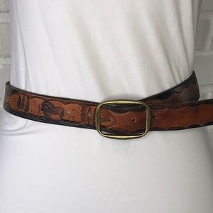Vintage Handmade Leather Belt Western Horse Small